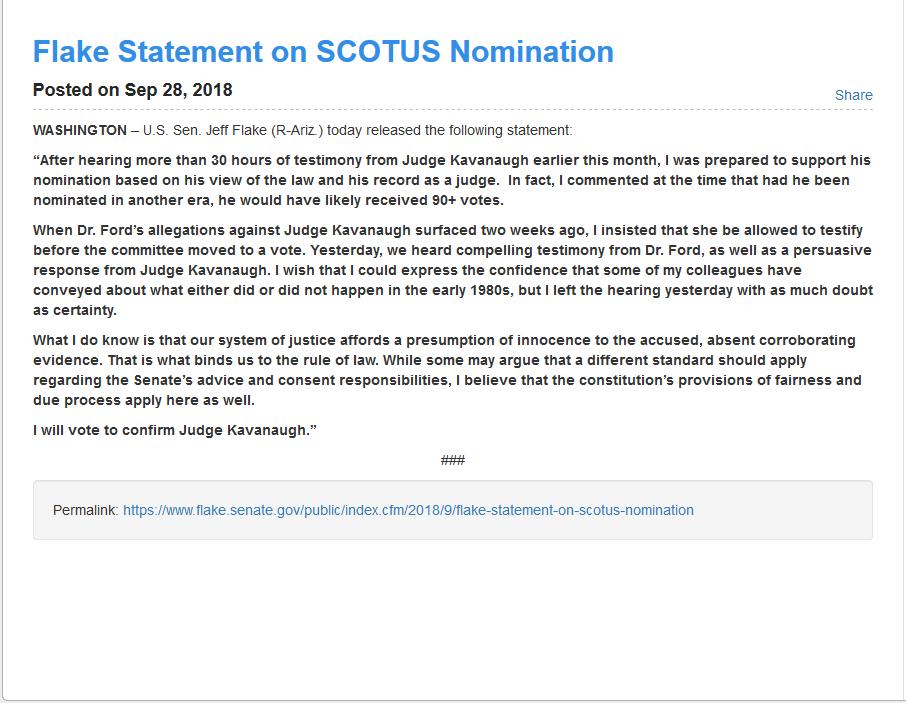 Screenshot_2018-10-02 Flake Statement on SCOTUS Nomination - Press Releases - United States Senator Jeff Flake