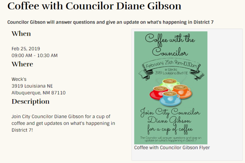 Coffee with Councilor Diane Gibson-ad